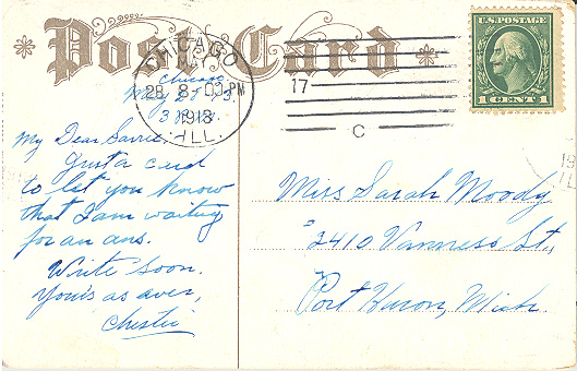 Postcard's message to Sarah Moody